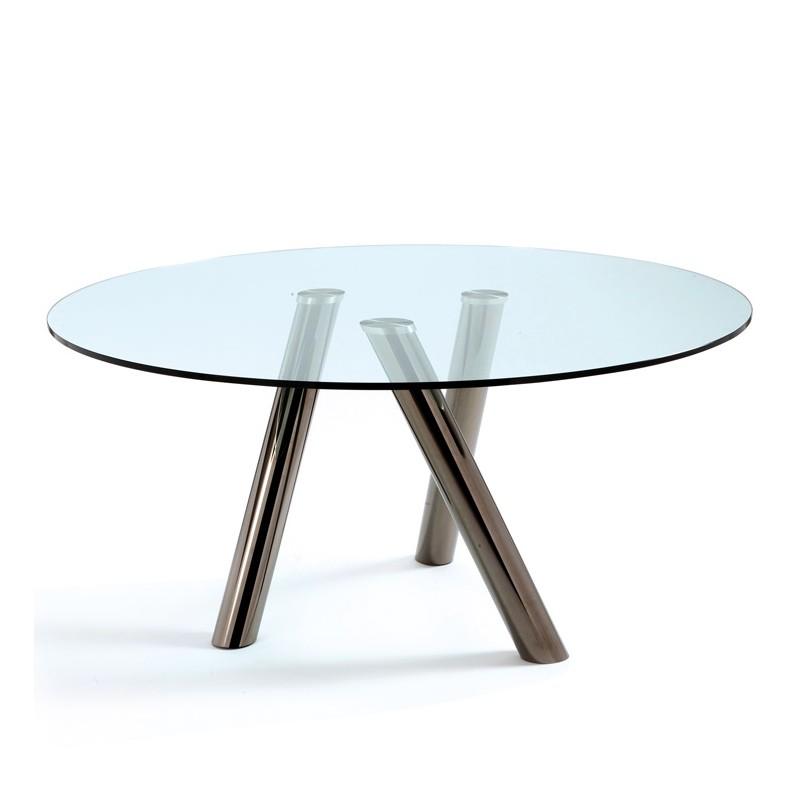 vetrine in cristallo cattelan : Tavolo con gambe in acciaio e piano in cristallo - Passarini