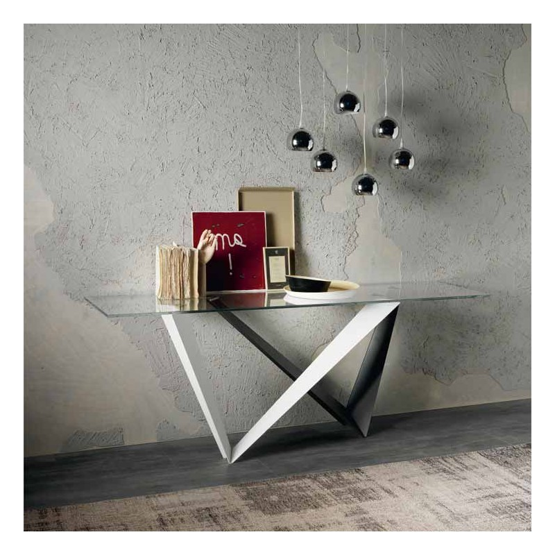 Consolle con piano in vetro cristallo passarini for Consolle in vetro