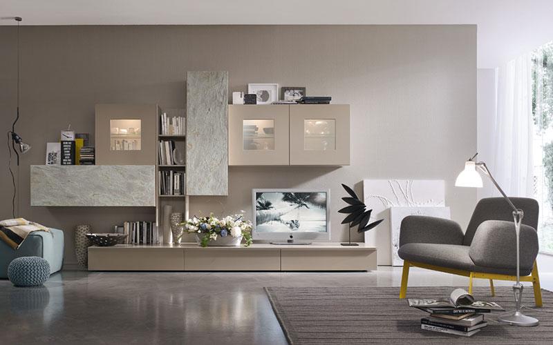 Soggiorni moderni bologna passarini for Immagini pareti colorate soggiorno